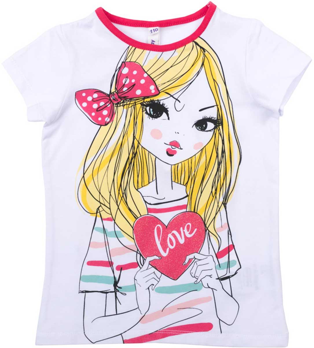 Футболка для девочки PlayToday, цвет: белый, розовый. 172024. Размер 98172024Футболка для девочки PlayToday свободного классического кроя прекрасно подойдет как для домашнего использования, так и для прогулок на свежем воздухе. Можно использовать в качестве базовой вещи повседневного гардероба вашего ребенка. Яркий стильный принт является достойным украшением данного изделия.