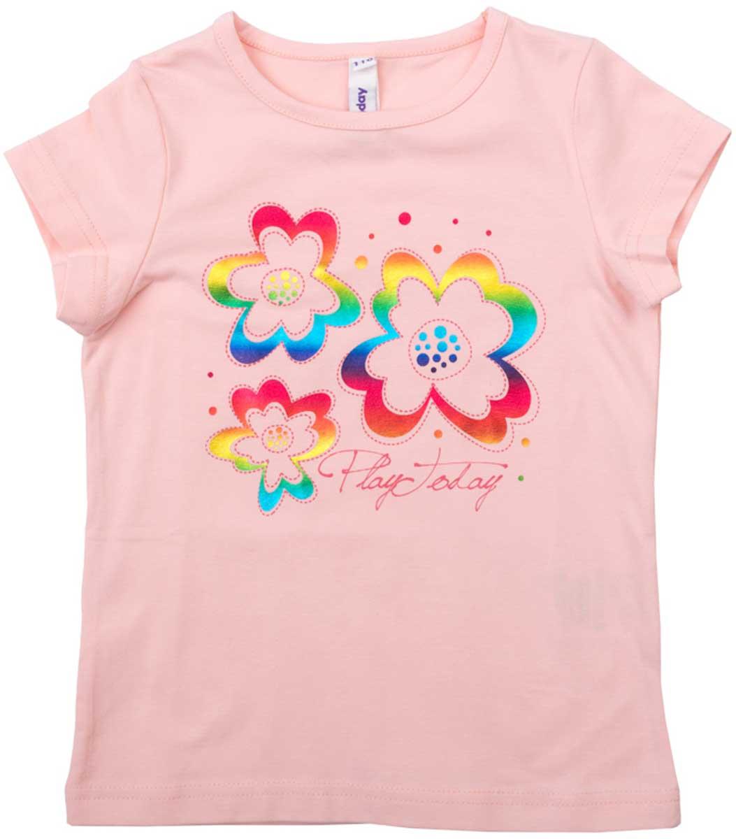 Футболка для девочки PlayToday, цвет: розовый. 172028. Размер 110172028Футболка для девочки PlayToday выполнена из хлопка и эластана. Модель с круглым вырезом горловины и короткими рукавами оформлена оригинальным принтом.