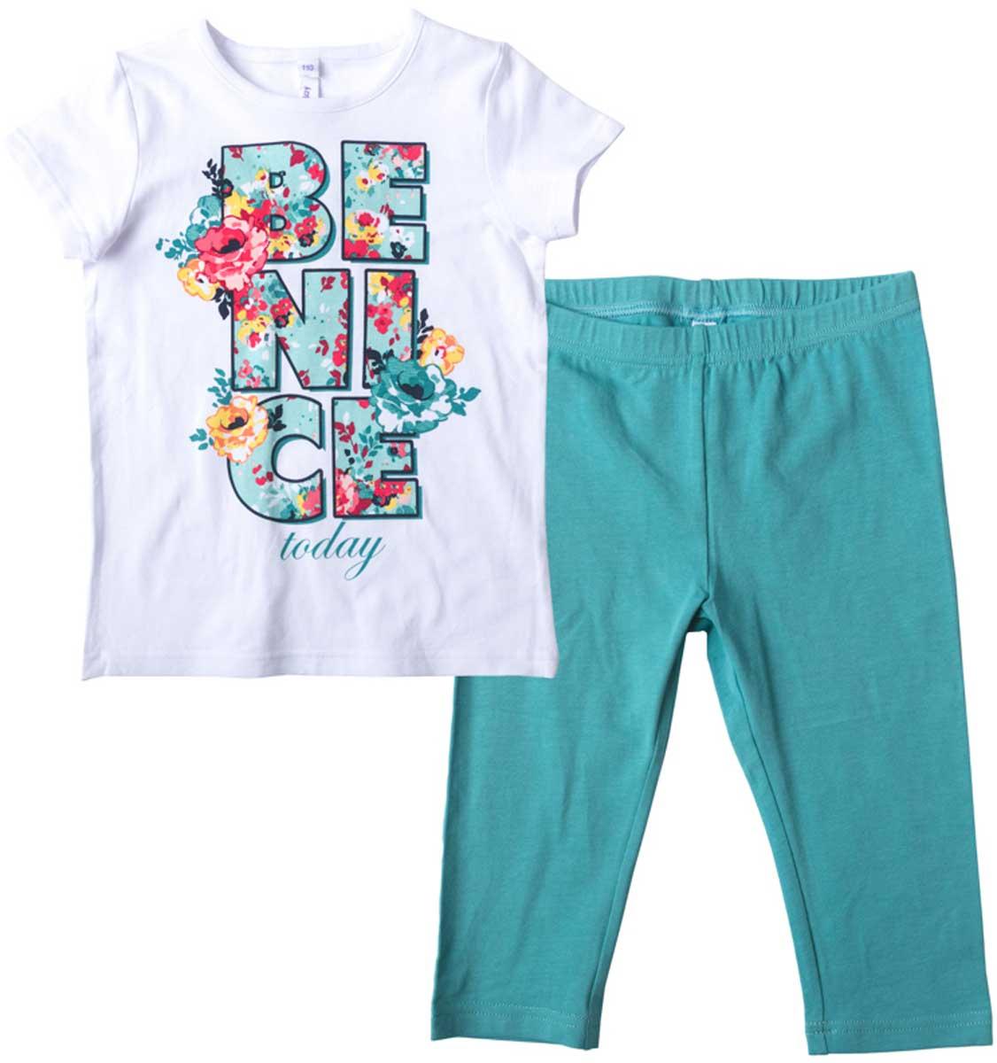 Комплект для девочки PlayToday: футболка, леггинсы, цвет: белый, голубой, желтый. 172029. Размер 122172029Комплект из футболки и брюк-леггинсов прекрасно подойдет как для домашнего использования, так и для прогулок на свежем воздухе. Мягкий, приятный к телу, материал не сковывает движений. Яркий стильный принт является достойным украшением данного изделия. Леггинсы на мягкой удобной резинке.