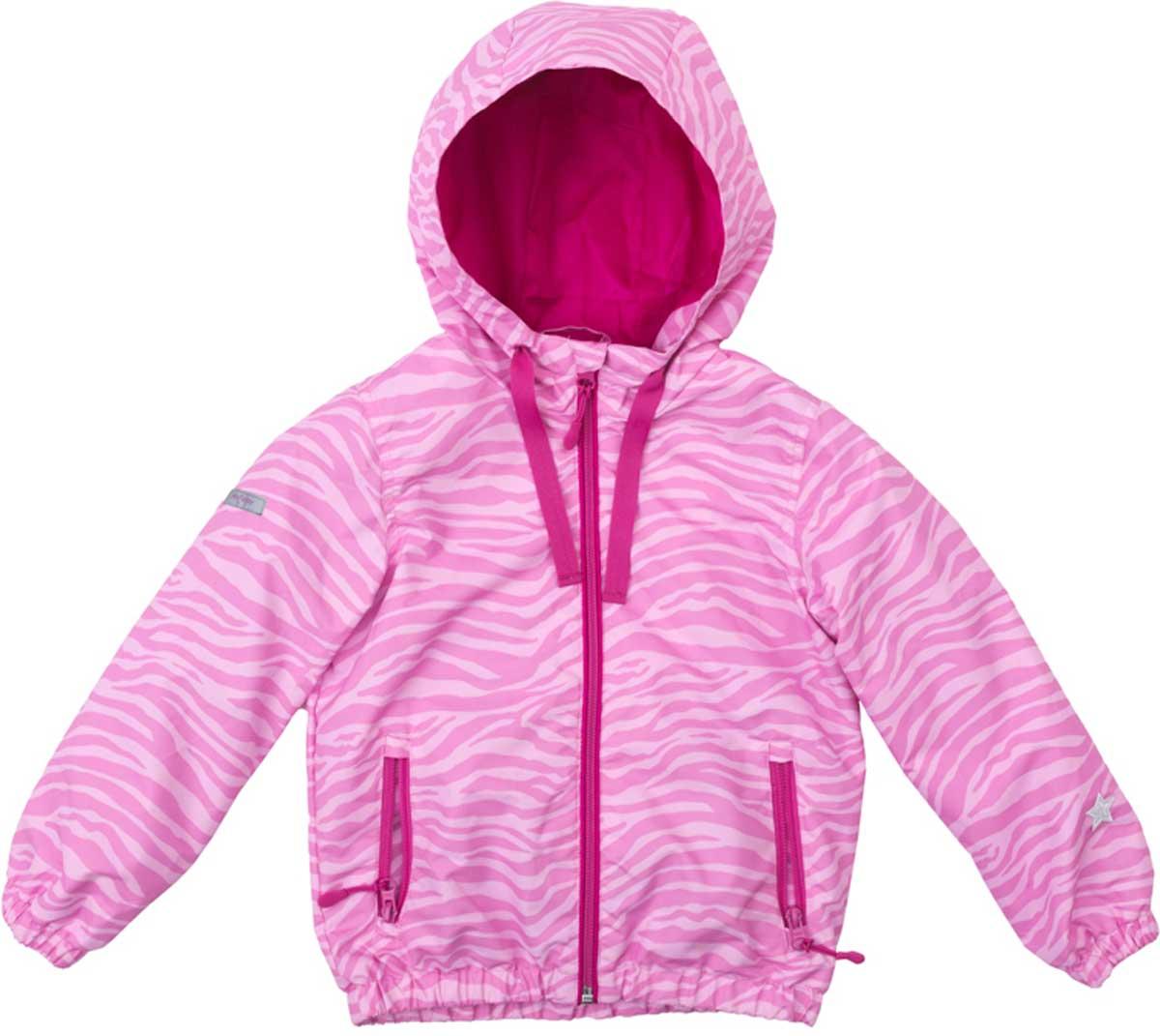 Ветровка для девочки PlayToday, цвет: светло-розовый, розовый. 172055. Размер 116172055Яркая стильная вктровка обязательно понравится вашему ребенку! Специальный карман для фиксации застежки-молнии не позволит застежке травмировать нежную детскую кожу. За счет шнура - кулиски капюшон не упадет с головы даже во время активных игр. Светоотражатели на рукаве и по низу изделия позволят видеть вашего ребенка даже в темное время суток.