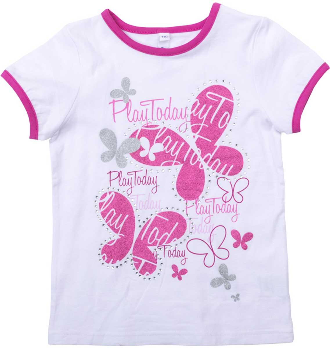 Футболка для девочки PlayToday, цвет: белый, розовый. 172068. Размер 116172068Футболка для девочки PlayToday свободного классического кроя прекрасно подойдет как для домашнего использования, так и для прогулок на свежем воздухе. Рукава на мягких резинках. Можно использовать в качестве базовой вещи повседневного гардероба вашего ребенка. Яркий стильный принт является достойным украшением данного изделия.