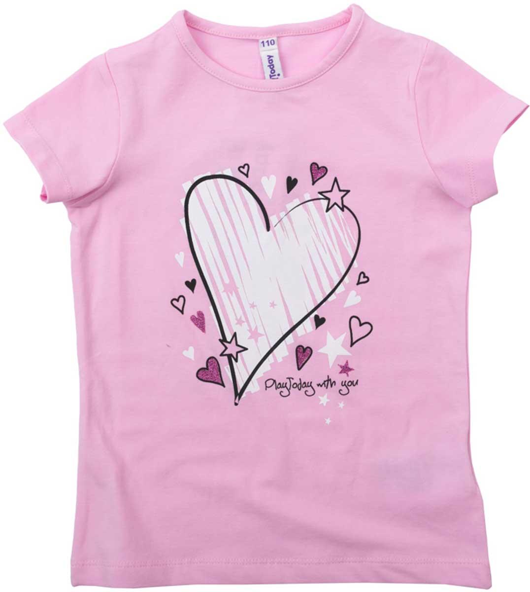 Футболка для девочки PlayToday, цвет: светло-розовый, белый. 172069. Размер 122172069Футболка для девочки PlayToday выполнена из хлопка и эластана. Модель с круглым вырезом горловины и короткими рукавами оформлена оригинальным принтом.