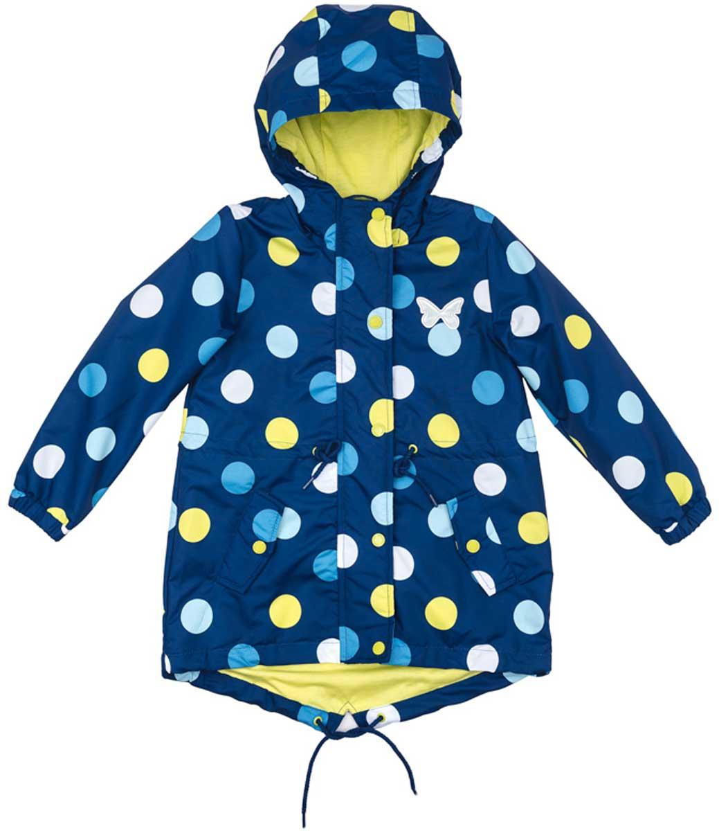 Куртка для девочки PlayToday, цвет: синий, голубой, белый, светло-желтый. 172101. Размер 110172101Практичная яркая куртка со специальной водоотталкивающей пропиткой защитит вашего ребенка в любую погоду! Мягкие резинки на рукавах защитят вашего ребенка - ветер не сможет проникнуть под куртку. Специальный карман для фиксации застежки-молнии не позволит застежке травмировать нежную кожу ребенка. Модель снабжена удобными регулируемым шнурами - кулисками на капюшоне, талии и по низу изделия. Светоотражатели позволят видеть вашего ребенка в темное время суток.