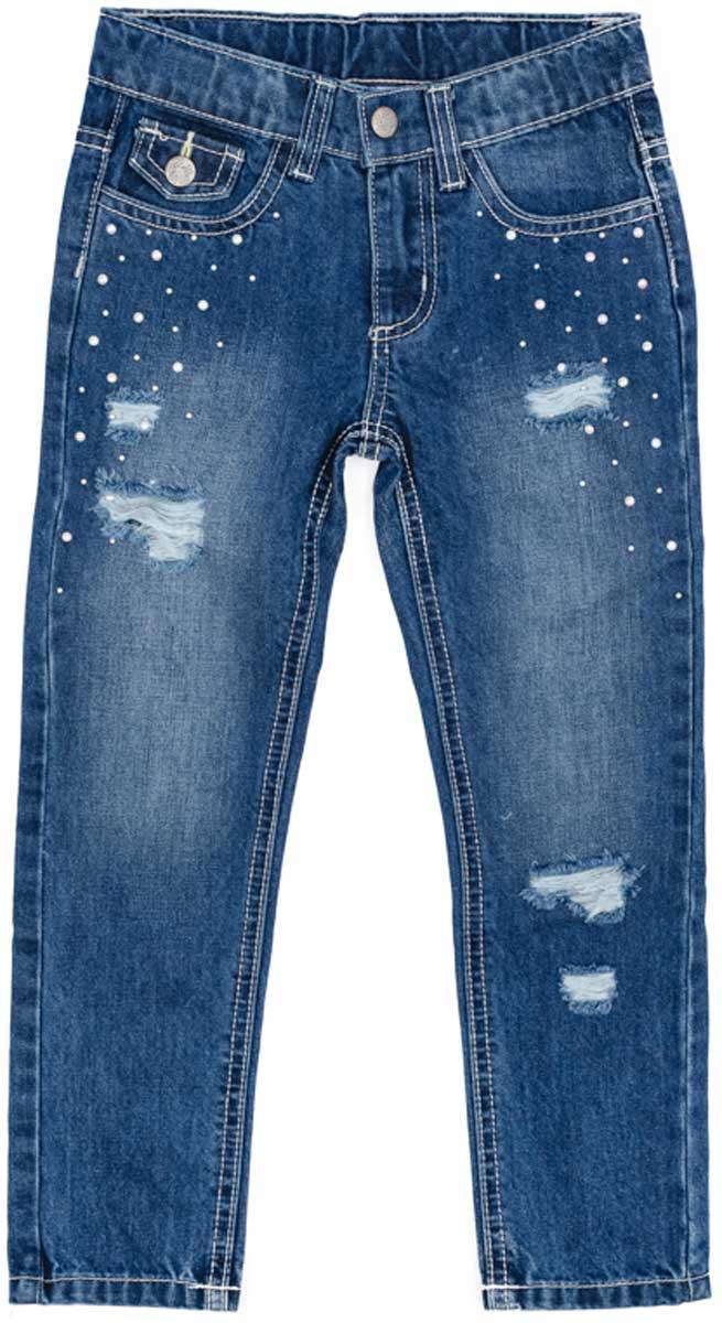 Джинсы для девочки PlayToday, цвет: синий. 172105. Размер 110172105Эффектные джинсы понравятся вашей моднице. Модель с эффектом потертости и металлическими клепками. Шлевки на поясе позволяют использовать ремень. Мягкая ткань, приятная на ощупь не сковывает движений ребенка.