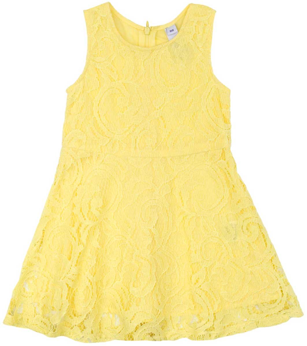 Платье для девочки PlayToday, цвет: желтый. 172112. Размер 104172112Ажурное платье PlayToday, отрезное по талии, с округлым вырезом у горловины, понравится вашей моднице. Свободный крой не сковывает движений. Приятная на ощупь ткань не раздражает нежную кожу ребенка. Модель на подкладке из натурального хлопка. Платье будет прекрасным дополнением к детскому летнему гардеробу.
