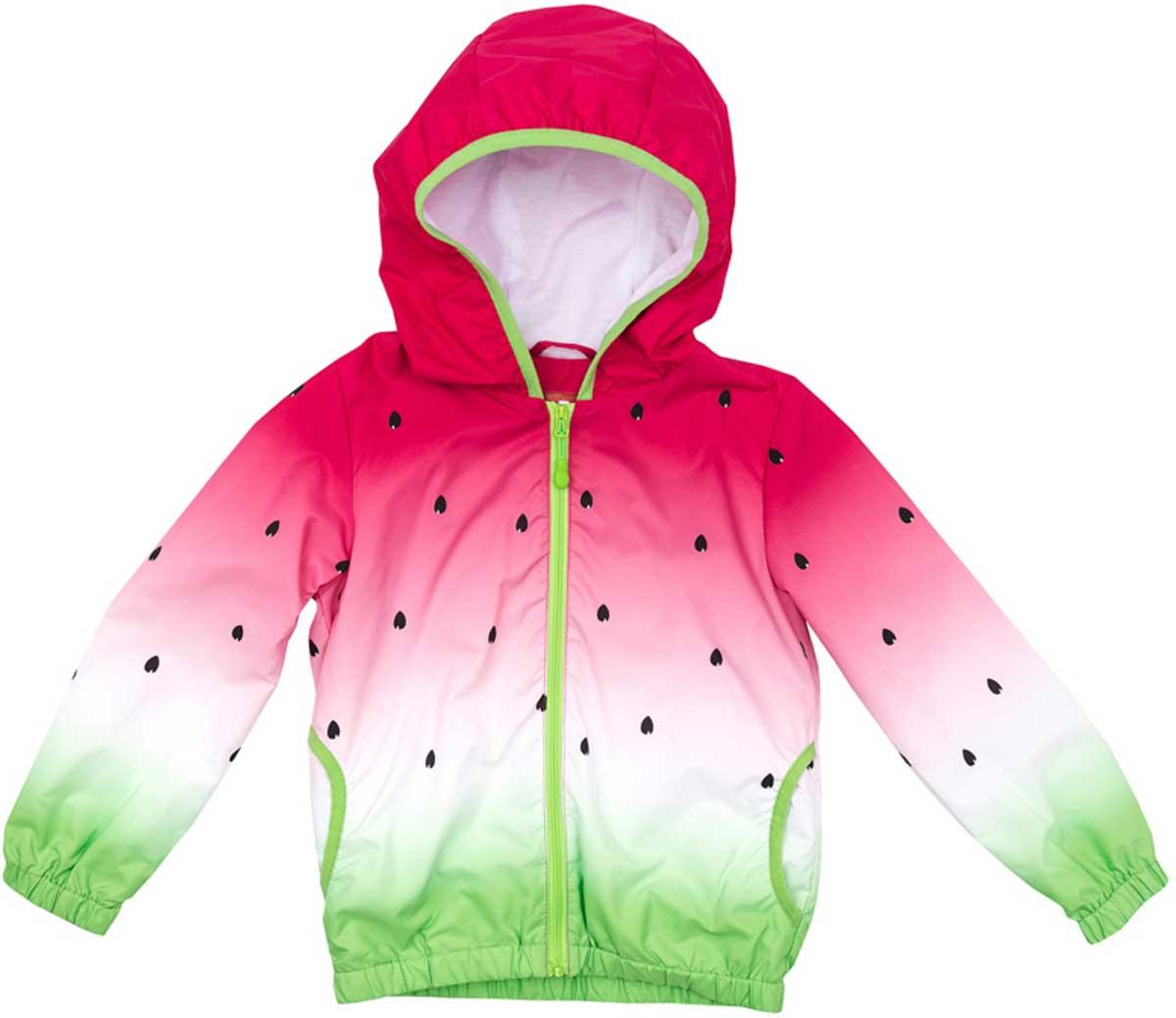 Ветровка для девочки PlayToday, цвет: розовый, салатовый, белый. 172152. Размер 110172152Практичная ветровка яркой сочной расцветки со специальной водоотталкивающей пропиткой защитит вашего ребенка в любую погоду! Мягкие резинки на рукавах и по низу изделия защитят ребенка - ветер не сможет проникнуть под ветровку. Модель с резинкой на капюшоне - даже во время активных игр капюшон не упадет с головы ребенка.