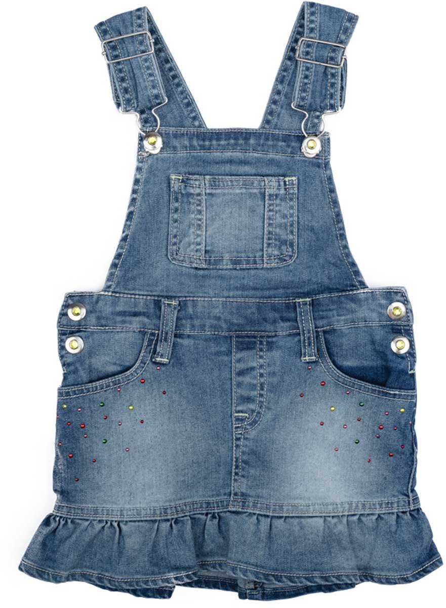 Сарафан для девочки PlayToday, цвет: голубой. 172154. Размер 128172154Эффектный сарафан PlayToday из натуральной джинсовой ткани с эффектом потертости сможет быть одной из базовоых вещей с детском гардеробе. Модель на широких бретелях, с удобными застежками - болтами.