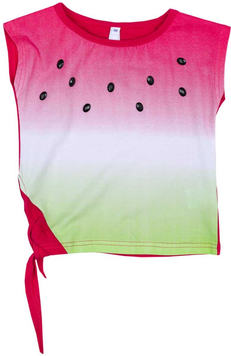 Футболка для девочки PlayToday, цвет: розовый, светло-зеленый, белый. 172167. Размер 116172167Футболка для девочки PlayToday из натуральной ткани яркой сочной расцветки сможет дополнить гардероб вашей модницы! Модель завязывается сбоку на эффектный узел.