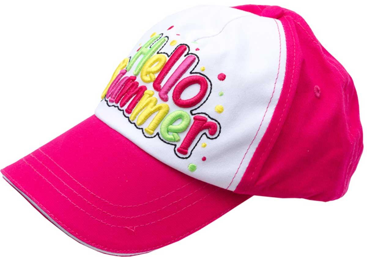 Бейсболка для девочки PlayToday, цвет: розовый, белый, желтый, зеленый. 172178. Размер 52172178Модная кепка - бейсболка из натурального хлопка понравится вашему ребенку и защитит в солнечную погоду. Модель с эффектной аппликацией