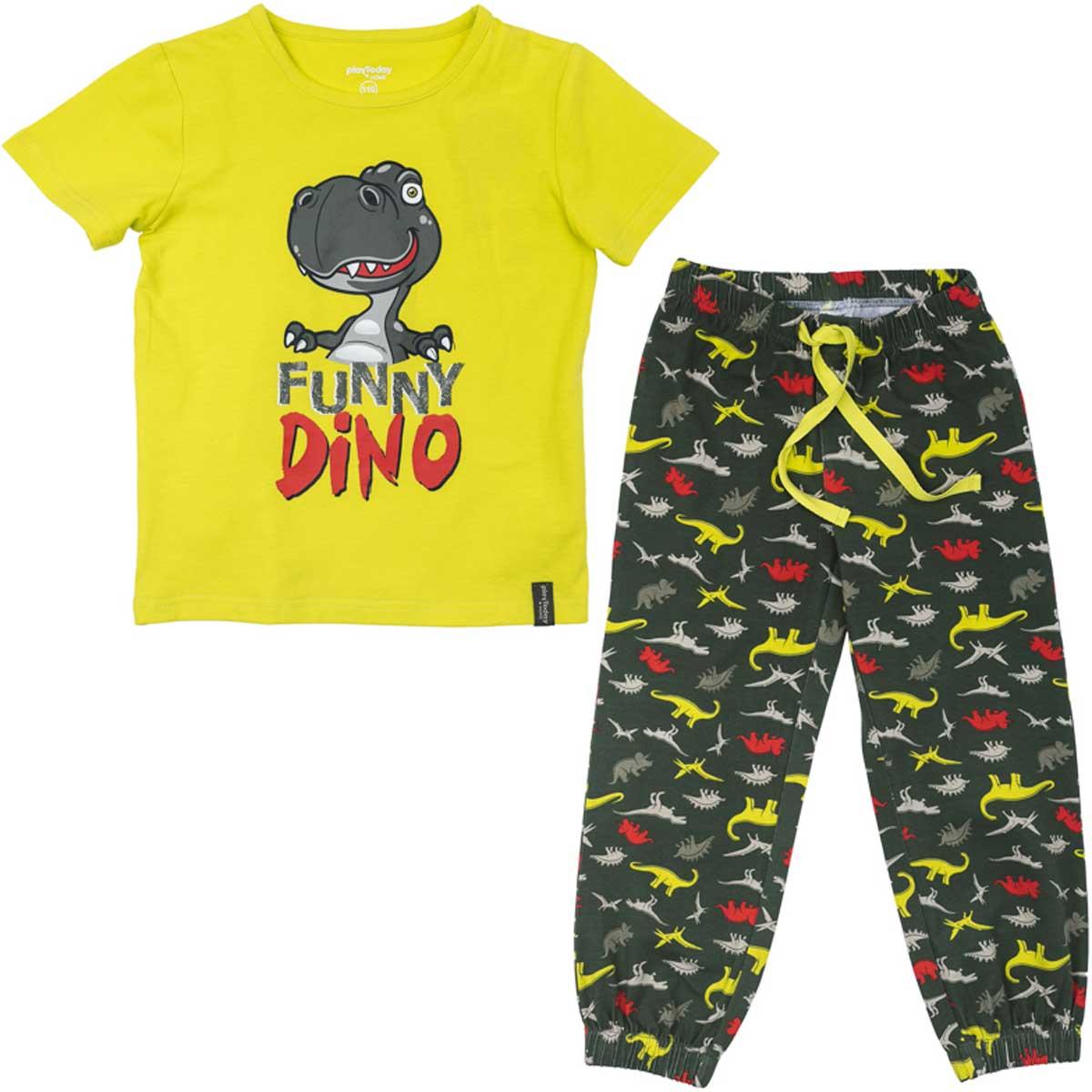 Комплект для мальчика PlayToday: футболка, брюки, цвет: желтый, темно-серый. 175001. Размер 128175001Комплект из футболки и брюк прекрасно подойдет для домашнего использования. Мягкий, приятный к телу, материал не сковывает движений. Яркий стильный принт является достойным украшением данного изделия. Брюки на мягкой удобной резинке на поясе и на штанинах, с регулируемым шнуром - кулиской на поясе.