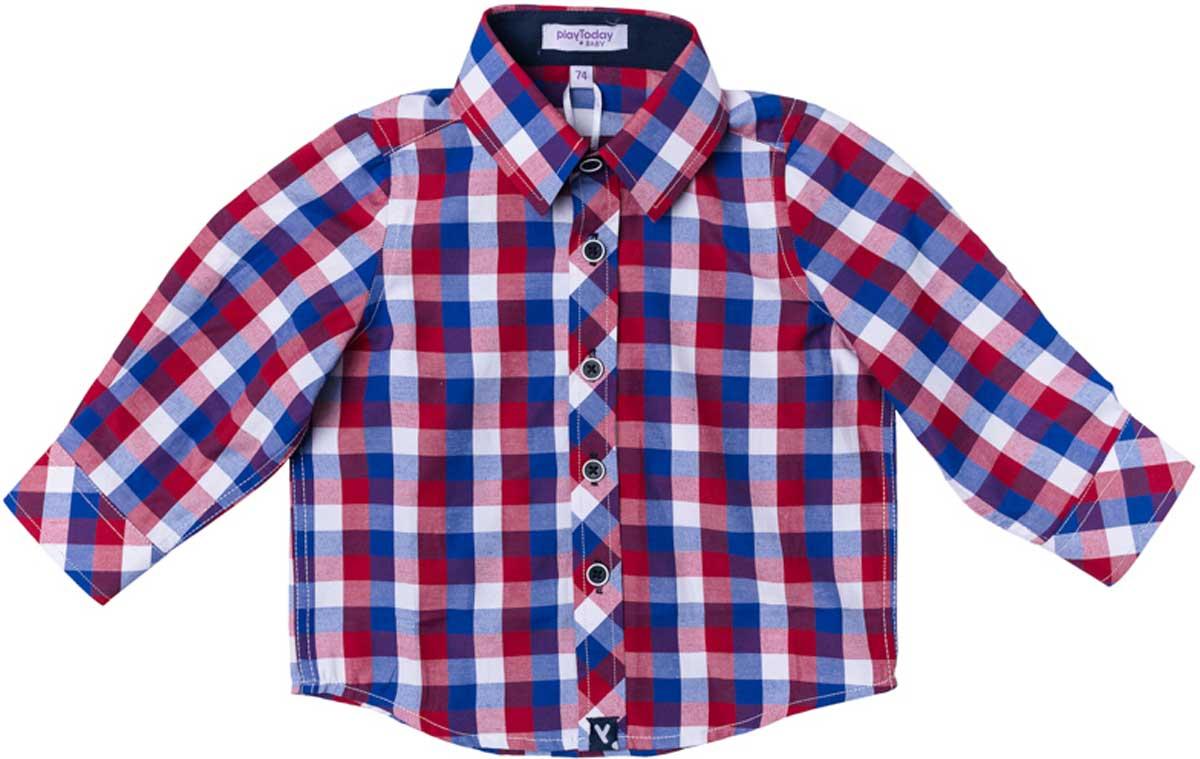 Рубашка для мальчика PlayToday, цвет: синий, белый, красный. 177007. Размер 80177007Рубашка для мальчика PlayToday в стиле кантри. Практична и очень удобна для повседневной носки. Ткань мягкая и приятная на ощупь, не раздражает нежную детскую кожу. Стиль отвечает всем последним тенденциям детской моды. Рубашка с отложным воротничком.