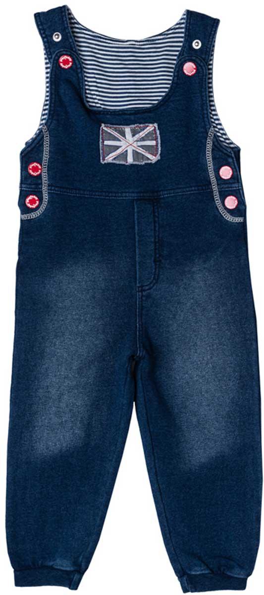 Комбинезон для мальчика PlayToday, цвет: темно-синий. 177011. Размер 74177011Удобный джинсовый комбинезон с эффектом потертости из натурального материала сможет быть одной из базовых вещей в гардеробе вашего ребенка. Для удобства снимания и одевания бретели и боковины модели снабжены застежками - кнопками. Низ брючин на мягких резинках. Свободный крой не сковывает движений. Натуральный материал приятен к телу и не вызывает раздражений.