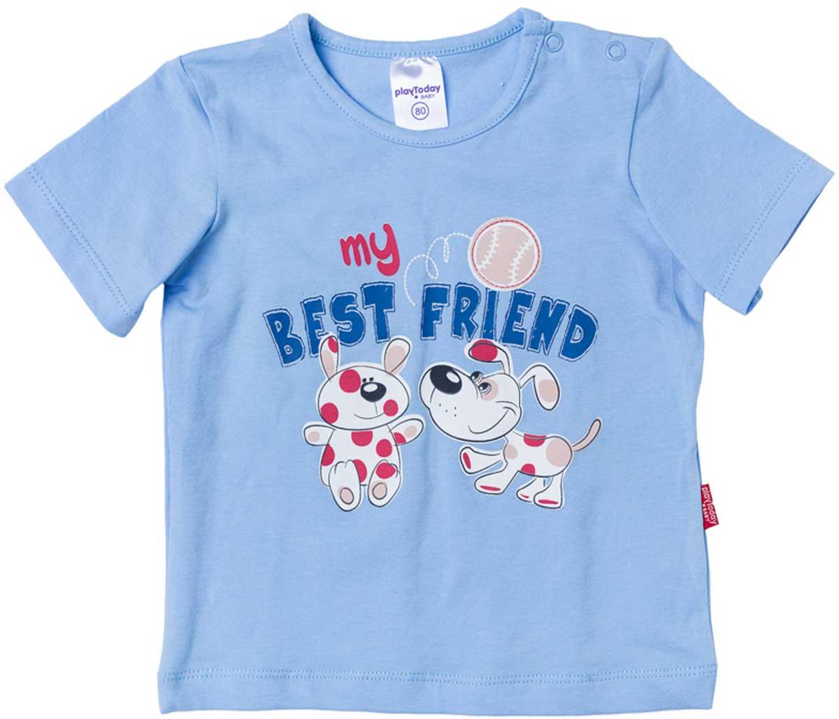 Футболка для мальчика PlayToday, цвет: голубой. 177024. Размер 74177024Футболка для мальчика PlayToday выполнена из эластичного хлопка. Модель с круглым вырезом горловины и короткими рукавами оформлена оригинальным принтом.