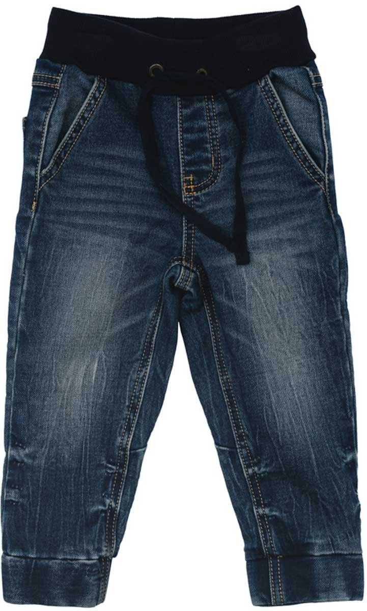 Джинсы для мальчика PlayToday, цвет: темно-синий, черный. 177054. Размер 74177054Удобные джинсы ткани с эффектом потертости смогут быть одной из базовых вещей в гардеробе вашего ребенка. Модель на широкой резинке, низ штанин на мягких манжетах. Свободный крой не сковывает движений ребенка. Модель дополнена регулируемым шнуром - кулиской на поясе.
