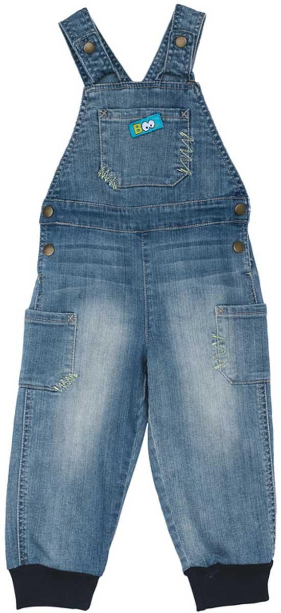 Полукомбинезон для мальчика PlayToday, цвет: голубой. 177057. Размер 74177057Полукомбинезон из натуральной джинсовой ткани с эффектом потертости сможет быть одной из базовых вещей детского гардероба. Низ штанин на мягких трикотажных резинках. Изделие удобно снимать и одевать за счет удобных застежек - кнопок на поясе и на бретелях.