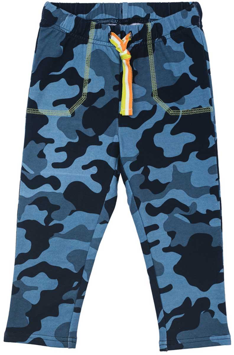 Брюки для мальчика PlayToday, цвет: голубой, серый, черный. 177061. Размер 74177061Удобные брюки стильной расцветки камуфляж смогут быть одной из базовых вещей в гардеробе вашего ребенка. Модель на широкой резинке, дополнительно снабжена регулируемым шнуром - кулиской контрастного цвета.