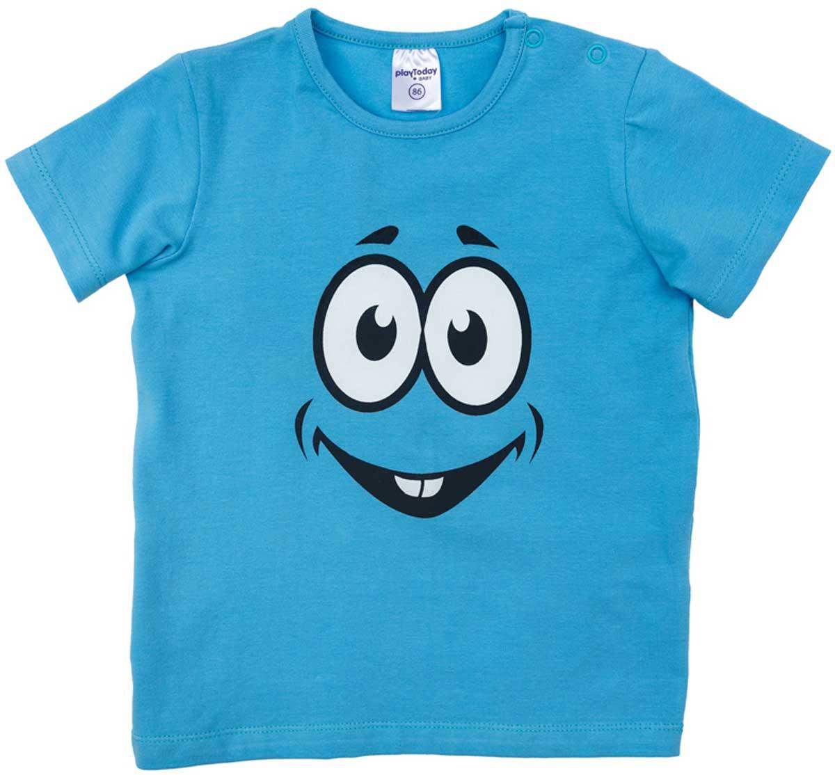 Футболка для мальчика PlayToday, цвет: голубой, белый, черный. 177069. Размер 74177069Футболка для мальчика PlayToday выполнена из эластичного хлопка. Модель с круглым вырезом горловины и короткими рукавами оформлена оригинальным принтом.