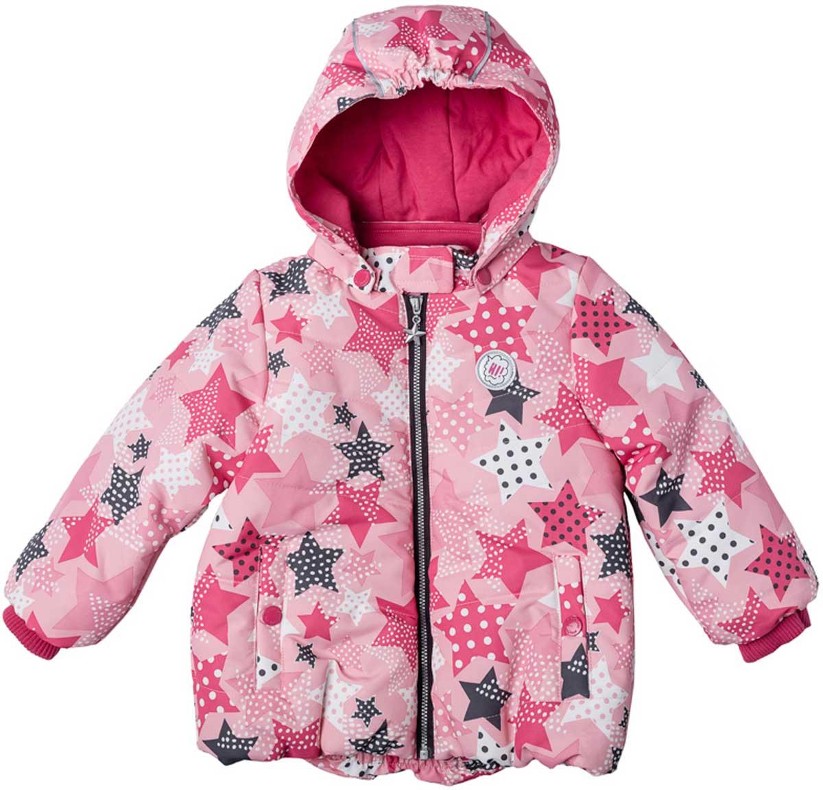Куртка для девочки PlayToday, цвет: светло-розовый, розовый, белый, серый. 178001. Размер 80178001Практичная утепленная куртка с капюшоном со специальной водоотталкивающей пропиткой защитит вашего ребенка в любую погоду! Мягкие трикотажные резинки на рукавах защитят ребенка - ветер не сможет проникнуть под куртку. Специальный карман для фиксации застежки-молнии не позволит застежке травмировать нежную детскую кожу. Мягкая резинка на капюшоне не позволит ему упасть с головы вашего ребенка даже во время активных игр.