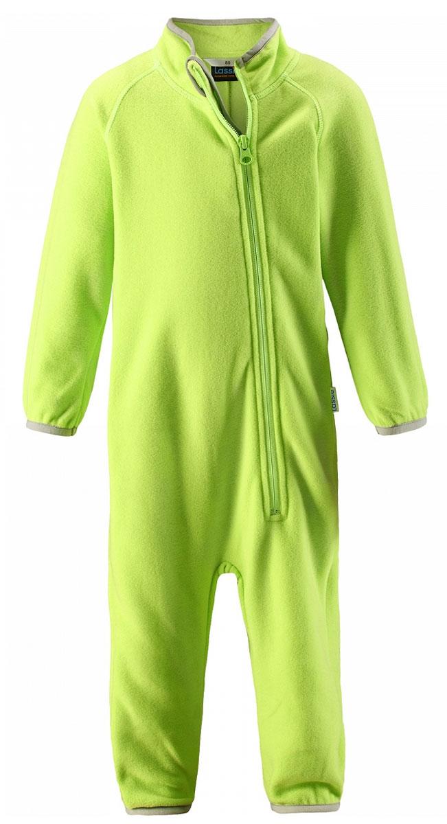 Комбинезон флисовый детский Lassie, цвет: салатовый. 7167008300. Размер 687167008300Флисовый комбинезон для малышей для прохладной погоды. Можно использовать как верхнюю одежду в сухую погоду весной или поддевать в качестве промежуточного слоя в холода, тогда дышащий материал будет отводить влагу в верхний слой одежды. Высококачественный флис - это очень мягкий, теплый, эластичный, легкий и быстросохнущий материал, он идеально подходит для активных прогулок. Молния во всю длину с защитой для подбородка облегчает одевание. Важно обращать внимание на продуманную отделку: эластичный воротник, манжеты на рукавах и брючинах. Этот комбинезон подарит комфорт даже самой нежной детской коже.