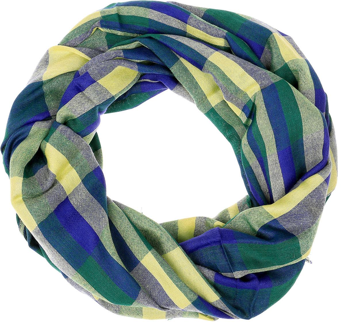 Палантин Vita Pelle, цвет: синий, зеленый, желтый. Ro02PC3263-B3-4. Размер 64 см х 185 смRo02PC3263-B3-4Палантин Vita Pelle изготовлен из вискозы с добавлением шелка и рами. Палантин оформлен принтом в крупную клетку, по краям дополнен плетеной бахромой.