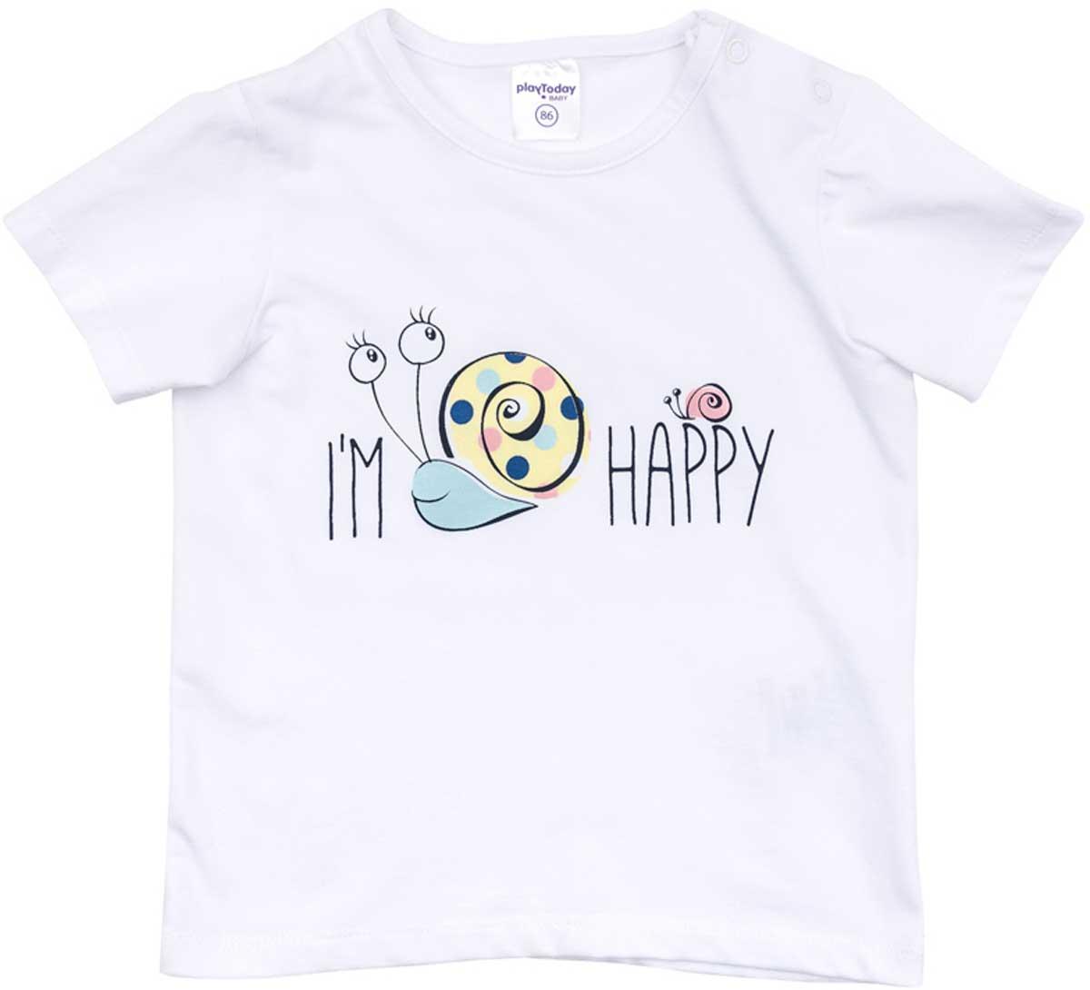 Футболка для девочки PlayToday, цвет: белый. 178074. Размер 74178074Футболка для девочки PlayToday выполнена из хлопка и эластана. Модель с круглым вырезом горловины и короткими рукавами оформлена оригинальным принтом.