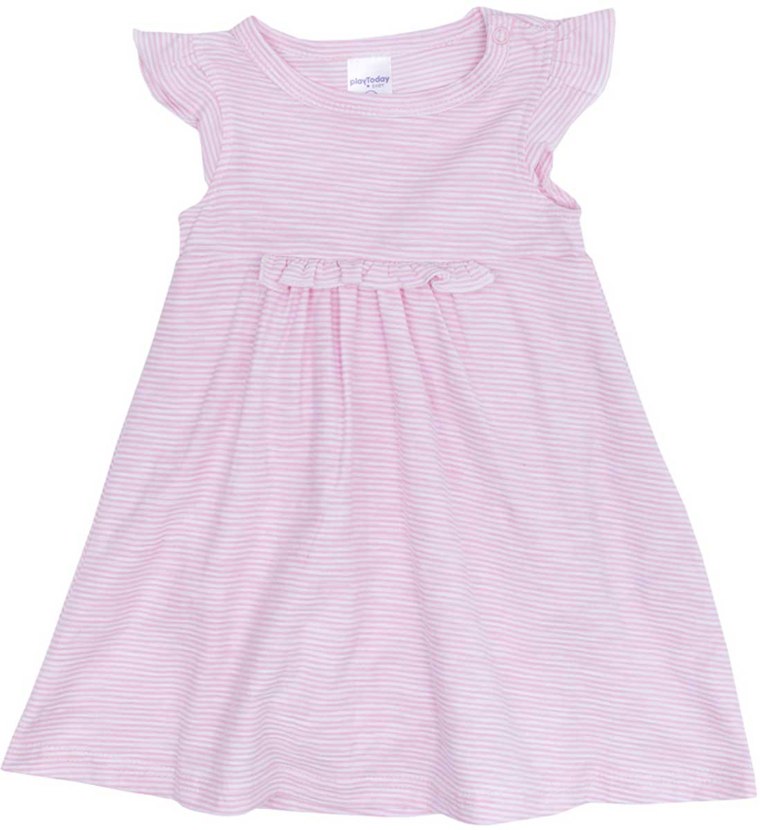 Платье для девочки PlayToday, цвет: светло-розовый, белый. 178809. Размер 68178809Платье PlayToday с завышенной талией, с округлым вырезом у горловины, понравится вашей моднице. Свободный крой не сковывает движений. Приятная на ощупь ткань не раздражает нежную кожу ребенка. Модель на рукавах декорирована небольшими оборками, что создает эффект крылышек.