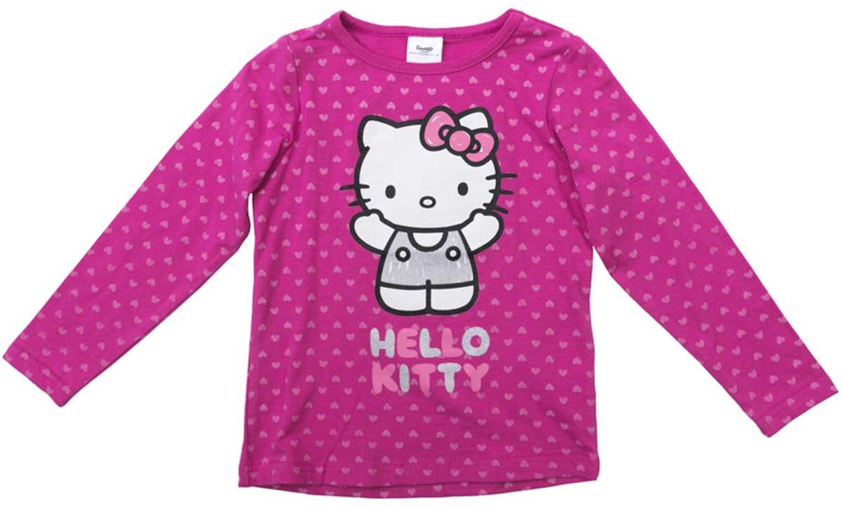 Футболка с длинным рукавом для девочки PlayToday, цвет: розовый, белый. 672052. Размер 110672052Футболка с длинным рукавом для девочки PlayToday выполнена из эластичного хлопка. Модель с круглым вырезом горловины и длинными рукавами оформлена оригинальным принтом.