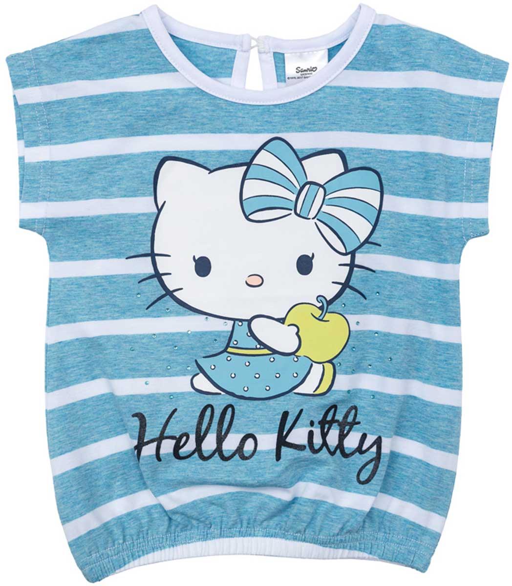 Футболка для девочки PlayToday, цвет: голубой, белый, желтый, зеленый. 672102. Размер 116672102Футболка для девочки PlayToday свободного классического кроя прекрасно подойдет как для домашнего использования, так и для прогулок на свежем воздухе. Можно использовать в качестве базовой вещи повседневного гардероба вашего ребенка. Яркий стильный лицензированный принт Hello Kitty является достойным украшением данного изделия.