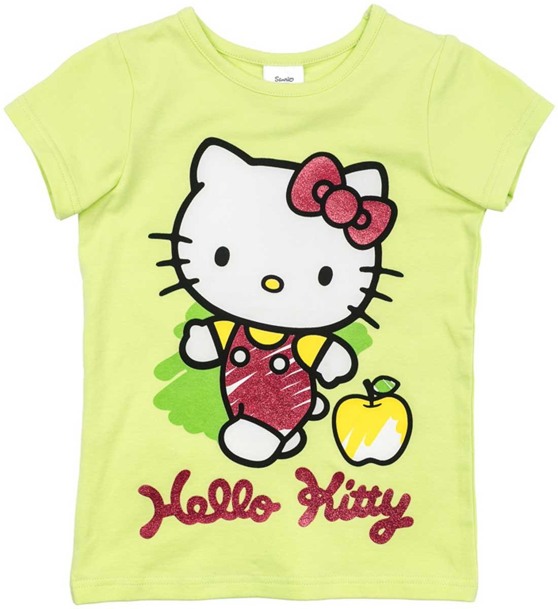 Футболка для девочки PlayToday, цвет: светло-зеленый, розовый. 672152. Размер 110672152Футболка для девочки PlayToday выполнена из хлопка и эластана. Модель с круглым вырезом горловины и короткими рукавами оформлена оригинальным принтом.