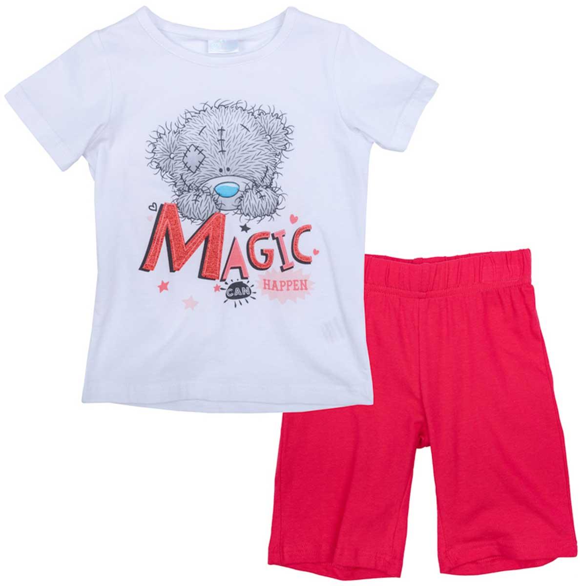 Комплект для девочки PlayToday: футболка, шорты, цвет: белый, красный. 676008. Размер 98676008Комплект из футболки и шорт прекрасно подойдет для домашнего использования. Может быть и домашней одеждой и уютной пижамой. Мягкий, приятный к телу материал не сковывает движений. Яркий стильный принт является достойным украшением данного изделия.