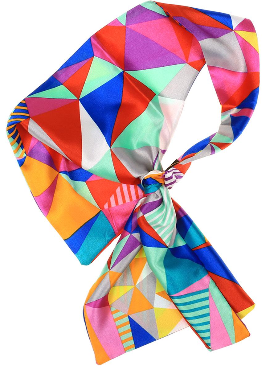 Шарф женский Vittorio Richi, цвет: мультиколор. Ro01A203-17-2. Размер 61 см х 33 смRo01A203-17-2Женский шарфик-фронтон Vittorio Richi изготовлен из полиэстера и шелка. Шарфик оформлен оригинальным геометрическим принтом. Шарф имеет с одной стороны петлю, в которую в разных комбинациях продеваются три других конца. Особая форма шарфика предполагает множество вариаций его ношения.