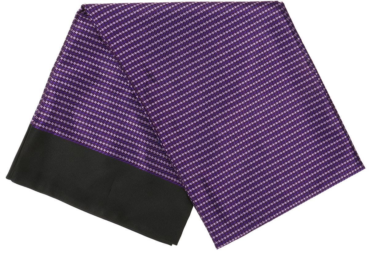 Шарф Vittorio Richi, цвет: фиолетовый, черный. Ro02G138-2981-14. Размер 28 см х 138 смRo02G138-2981-14Стильный шарф Vittorio Richi изготовлен из полиэстера и шелка. Двусторонний текстильный шарф оформлен мелким рисунком. Края выполнены из однотонной ткани.