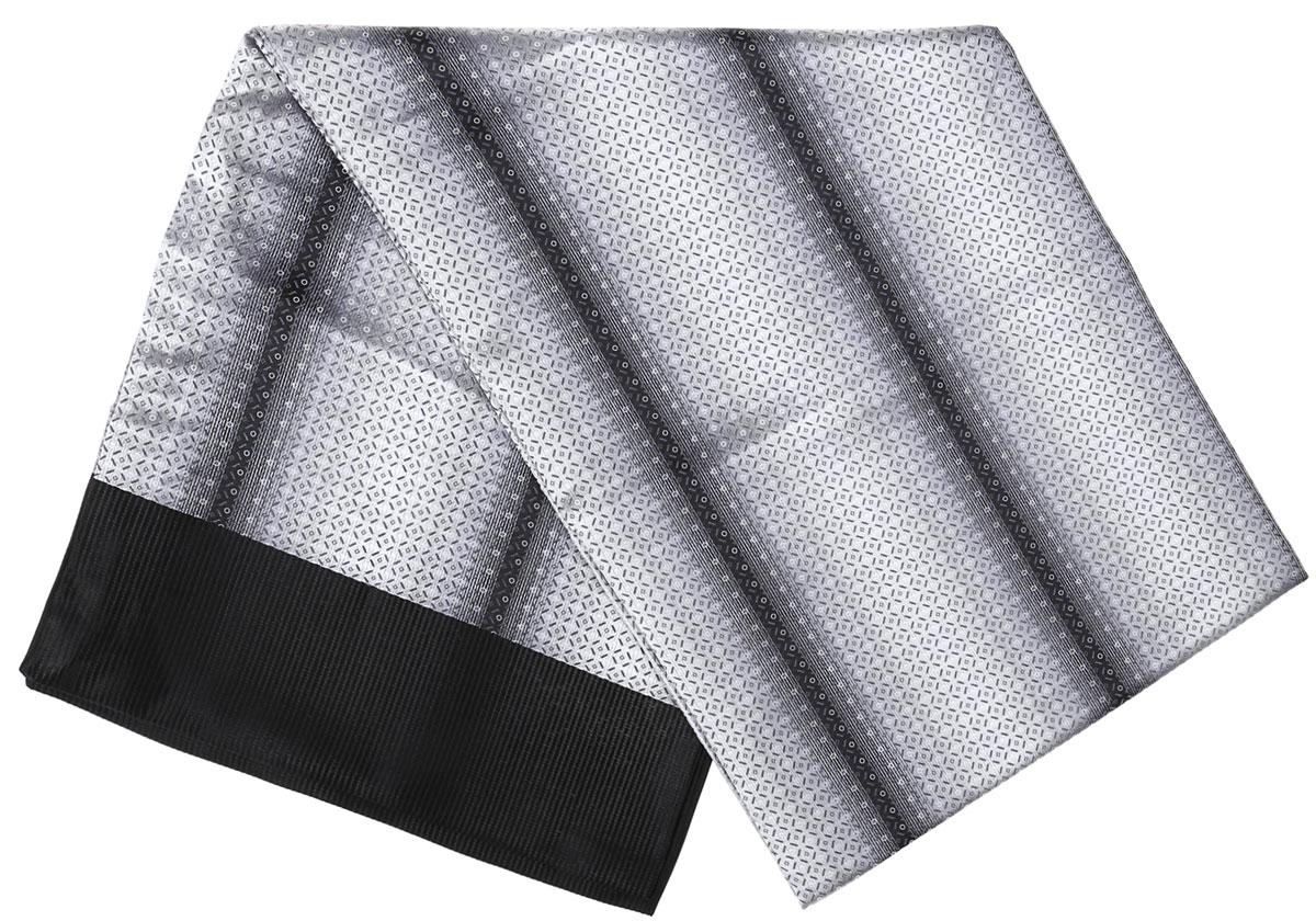 Шарф Vittorio Richi, цвет: светло-серый, серый, черный. Ro02G138-3010-1. Размер 28 см х 138 смRo02G138-3010-1Стильный шарф Vittorio Richi изготовлен из полиэстера и шелка. Двусторонний текстильный шарф оформлен мелким рисунком. Края выполнены из однотонной ткани.