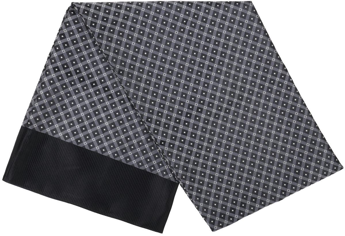 Шарф Vittorio Richi, цвет: серый, черный. Ro02G138-2943-6. Размер 28 см х 138 смRo02G138-2943-6Стильный шарф Vittorio Richi изготовлен из полиэстера и шелка. Двусторонний текстильный шарф оформлен мелким рисунком. Края выполнены из однотонной ткани.