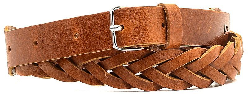 Ремень женский Lee, цвет: коричневый. LP045080. Размер 95LP045080Стильный ремень Lee выполнен из натуральной кожи и оформлен плетением. Пряжка, с помощью которой регулируется длина ремня, выполнена из качественного металла.