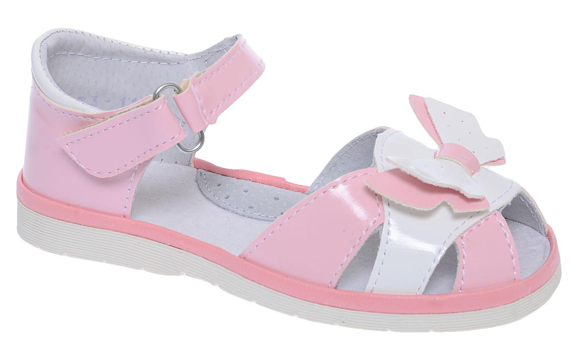 Сандалии для девочки Римал, цвет: розовый, белый. 3573. Размер 273573Сандалии для девочки Римал выполнены из качественной искусственной кожи. Ремешок с липучкой обеспечит оптимальную посадку модели на ноге. Кожаная стелька с супинатором придаст максимальный комфорт при движении. Носки сандалий оформлены декоративным элементом в виде бабочки.