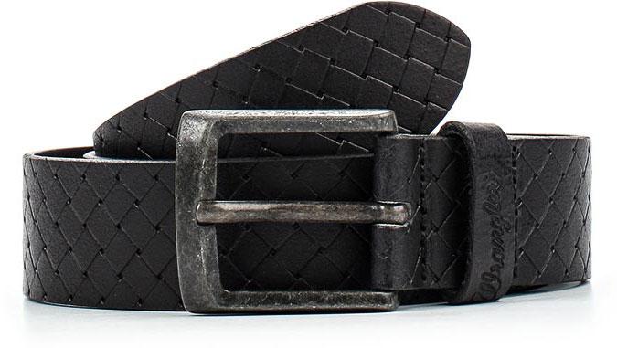 Ремень мужской Wrangler, цвет: черный. W0A00US01. Размер 100W0A00US01Стильный широкий ремень Wrangler выполнен из натуральной кожи и оформлен плетением.Пряжка, с помощью которой регулируется длина ремня, выполнена из качественного металла.