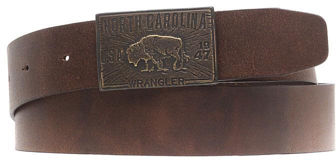 Ремень мужской Wrangler, цвет: коричневый. W0A60US85. Размер 95W0A60US85Стильный широкий ремень Wrangler выполнен из натуральной кожи. Металлическая пряжка, с помощью которой регулируется длина ремня, оформлена фирменной гравировкой.