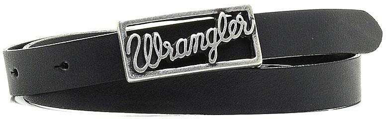 Ремень женский Wrangler, цвет: черный. W0A76US01. Размер 95W0A76US01Стильный ремень Wrangler выполнен из натуральной кожи. Прямоугольная пряжка, с помощью которой регулируется длина ремня, выполнена из металла и оформлена гравированной надписью с названием бренда.