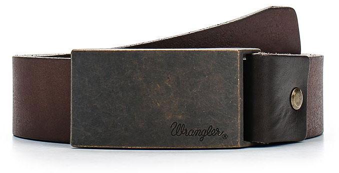 Ремень мужской Wrangler, цвет: темно-коричневый. W0272US85. Размер 95W0272US85Стильный широкий ремень Wrangler выполнен из натуральной кожи. Прямоугольная пряжка, с помощью которой регулируется длина ремня, выполнена из металла и оформлена гравировкой с названием бренда.
