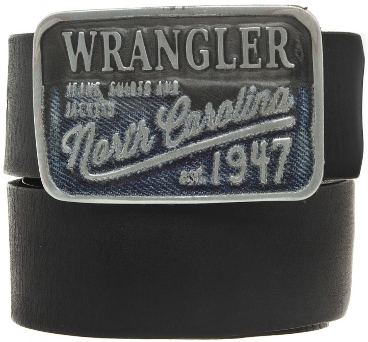 Ремень мужской Wrangler, цвет: черный. W0316U101. Размер 95W0316U101Стильный ремень Wrangler выполнен из натуральной кожи.Металлическая пряжка, с помощью которой регулируется длина ремня, оформлена фирменной гравировкой.