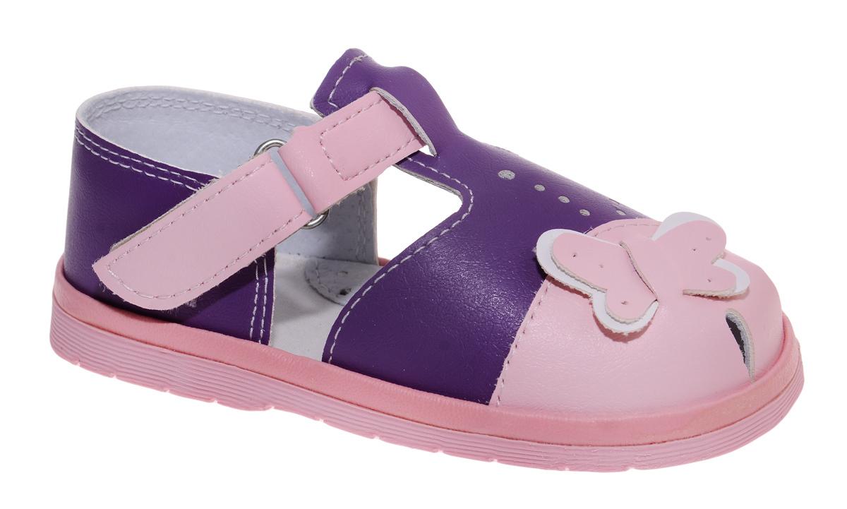 Сандалии для девочки Римал, цвет: розовый, сиреневый. Ик 1182 липа. Размер 18,5Ик 1182 липаСандалии для девочки Римал выполнены из качественной искусственной кожи. Ремешок с липучкой обеспечит оптимальную посадку модели на ноге. Кожаная стелька с супинатором придаст максимальный комфорт при движении. Носки сандалий оформлены декоративным элементом в виде бабочки