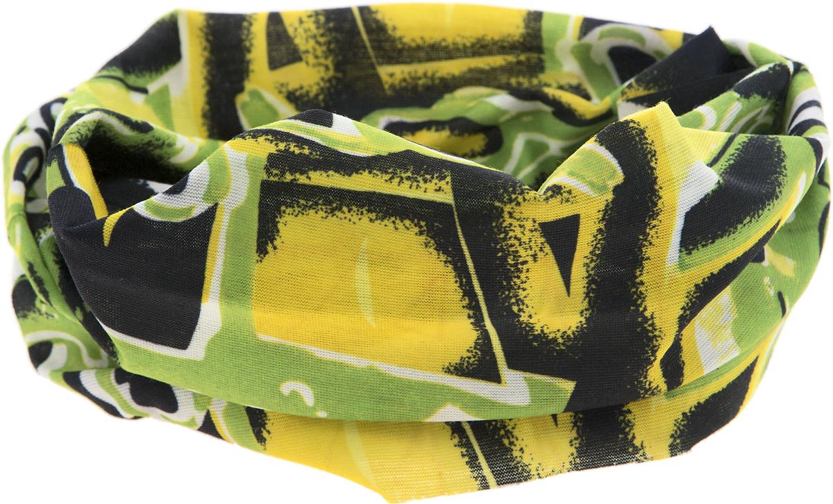 Шарф YusliQ, цвет: зеленый, желтый, черный, белый. 17-56. Размер 46 см х 24 см17-56Мультишарфы можно встретить под разными названиями: мультишарф, мультибандана, платок трансформер, Baff, но вне зависимости от того, как Вы назовете этот аксессуар, его уникальные возможности останутся неизменными. Вы с легкостью и удобством можете одеть этот мультишарф на голову и шею 12 различными способами. В сильные морозы, пронизывающий ветер или пыльную бурю - с мультишарфом Вы будете готовы к любым капризам природы.Авторская работа.