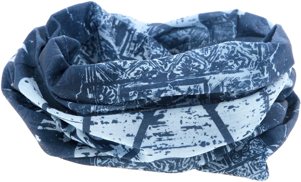 Шарф YusliQ, цвет: синий, голубой. 17-50. Размер 46 см х 24 см17-50Мультишарфы можно встретить под разными названиями: мультишарф, мультибандана, платок трансформер, Baff, но вне зависимости от того, как Вы назовете этот аксессуар, его уникальные возможности останутся неизменными. Вы с легкостью и удобством можете одеть этот мультишарф на голову и шею 12 различными способами. В сильные морозы, пронизывающий ветер или пыльную бурю - с мультишарфом Вы будете готовы к любым капризам природы.Авторская работа.