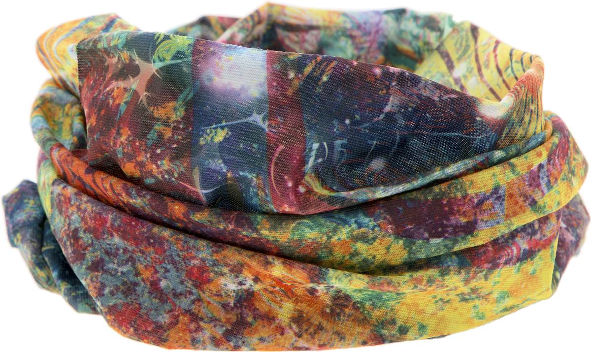 Шарф YusliQ, цвет: желтый, зеленый, красный, синий. 17-44. Размер 46 см х 24 см17-44Мультишарфы можно встретить под разными названиями: мультишарф, мультибандана, платок трансформер, Baff, но вне зависимости от того, как Вы назовете этот аксессуар, его уникальные возможности останутся неизменными. Вы с легкостью и удобством можете одеть этот мультишарф на голову и шею 12 различными способами. В сильные морозы, пронизывающий ветер или пыльную бурю - с мультишарфом Вы будете готовы к любым капризам природы.Авторская работа.