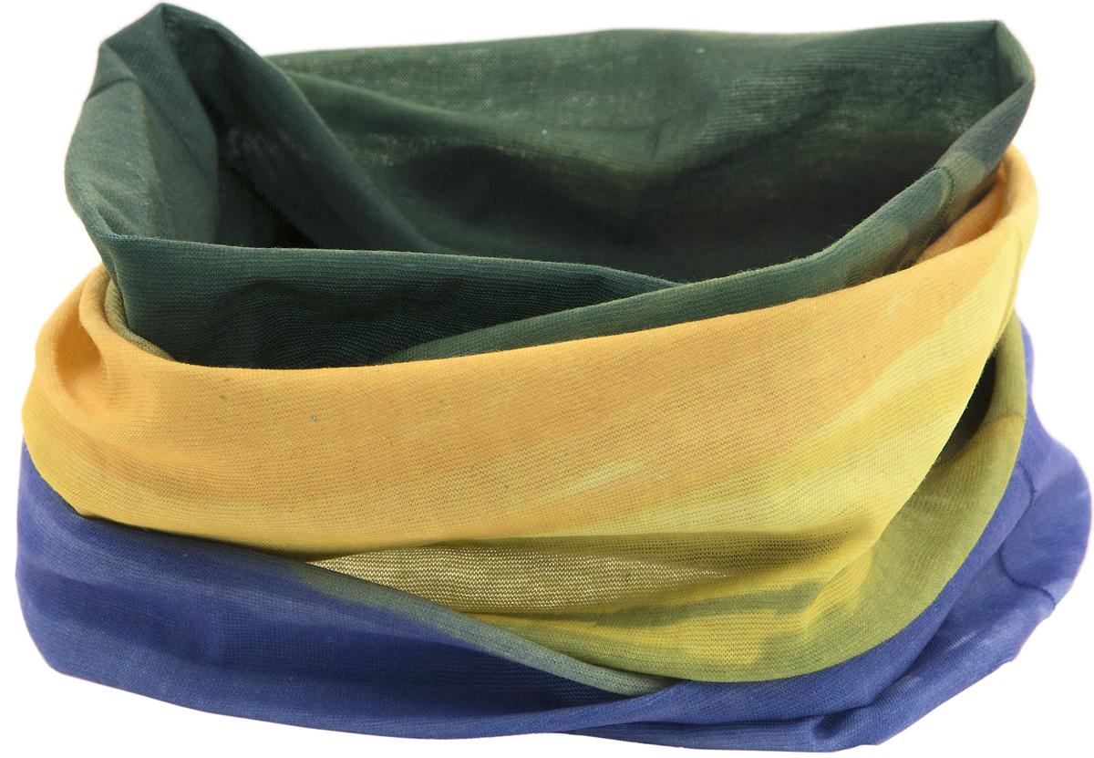 Шарф YusliQ, цвет: сиреневый, желтый, зеленый. 17-13. Размер 46 см х 24 см17-13Мультишарфы можно встретить под разными названиями: мультишарф, мультибандана, платок трансформер, Baff, но вне зависимости от того, как Вы назовете этот аксессуар, его уникальные возможности останутся неизменными. Вы с легкостью и удобством можете одеть этот мультишарф на голову и шею 12 различными способами. В сильные морозы, пронизывающий ветер или пыльную бурю - с мультишарфом Вы будете готовы к любым капризам природы.Авторская работа.
