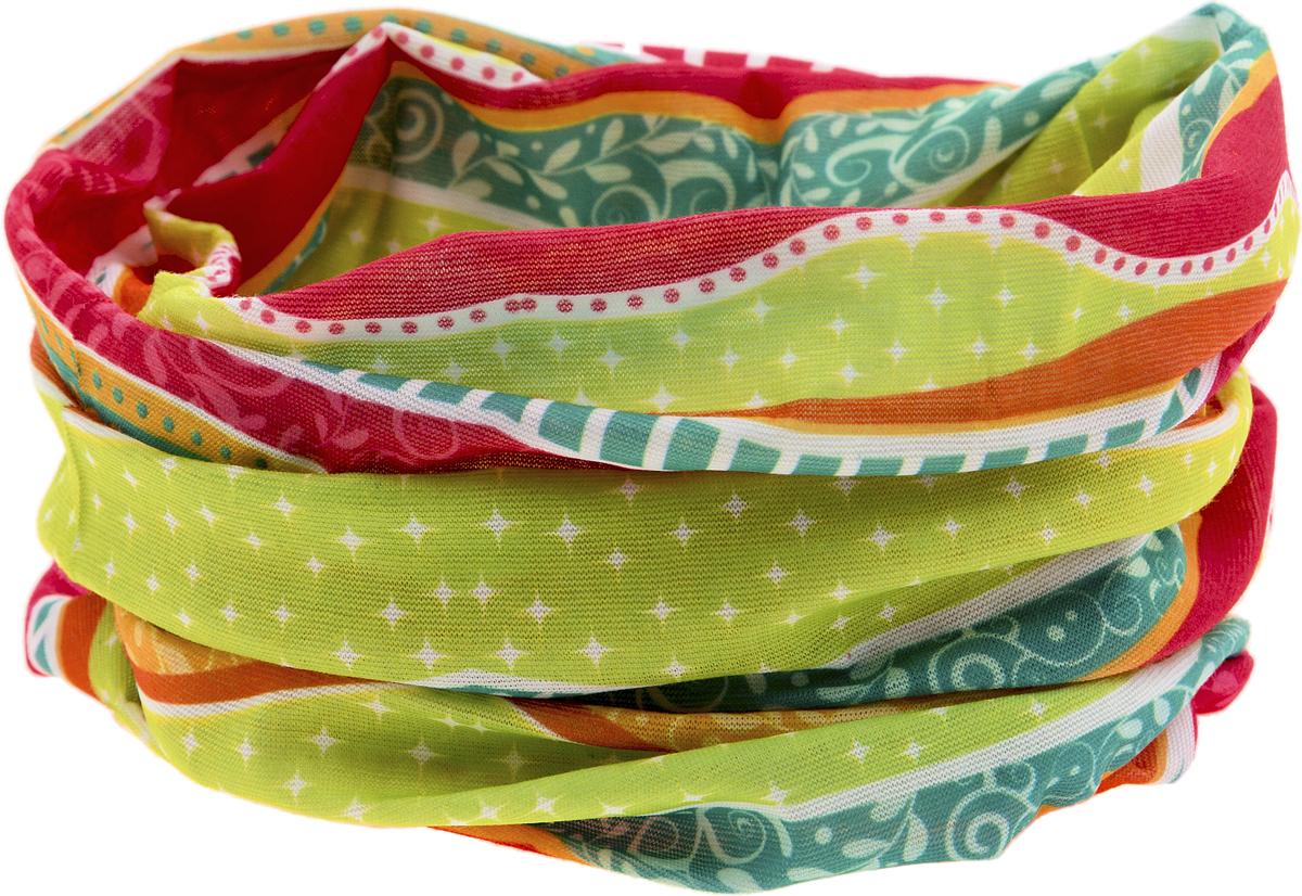 Шарф YusliQ, цвет: зеленый. красный, желтый, оранжевый. 17-47. Размер 46 см х 24 см17-47Мультишарфы можно встретить под разными названиями: мультишарф, мультибандана, платок трансформер, Baff, но вне зависимости от того, как Вы назовете этот аксессуар, его уникальные возможности останутся неизменными. Вы с легкостью и удобством можете одеть этот мультишарф на голову и шею 12 различными способами. В сильные морозы, пронизывающий ветер или пыльную бурю - с мультишарфом Вы будете готовы к любым капризам природы.Авторская работа.