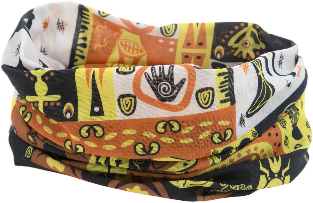 Шарф YusliQ, цвет: желтый, оранжевый, черный. 15-12. Размер 46 см х 24 см15-12Мультишарфы можно встретить под разными названиями: мультишарф, мультибандана, платок трансформер, Baff, но вне зависимости от того, как Вы назовете этот аксессуар, его уникальные возможности останутся неизменными. Вы с легкостью и удобством можете одеть этот мультишарф на голову и шею 12 различными способами. В сильные морозы, пронизывающий ветер или пыльную бурю - с мультишарфом Вы будете готовы к любым капризам природы.Авторская работа.