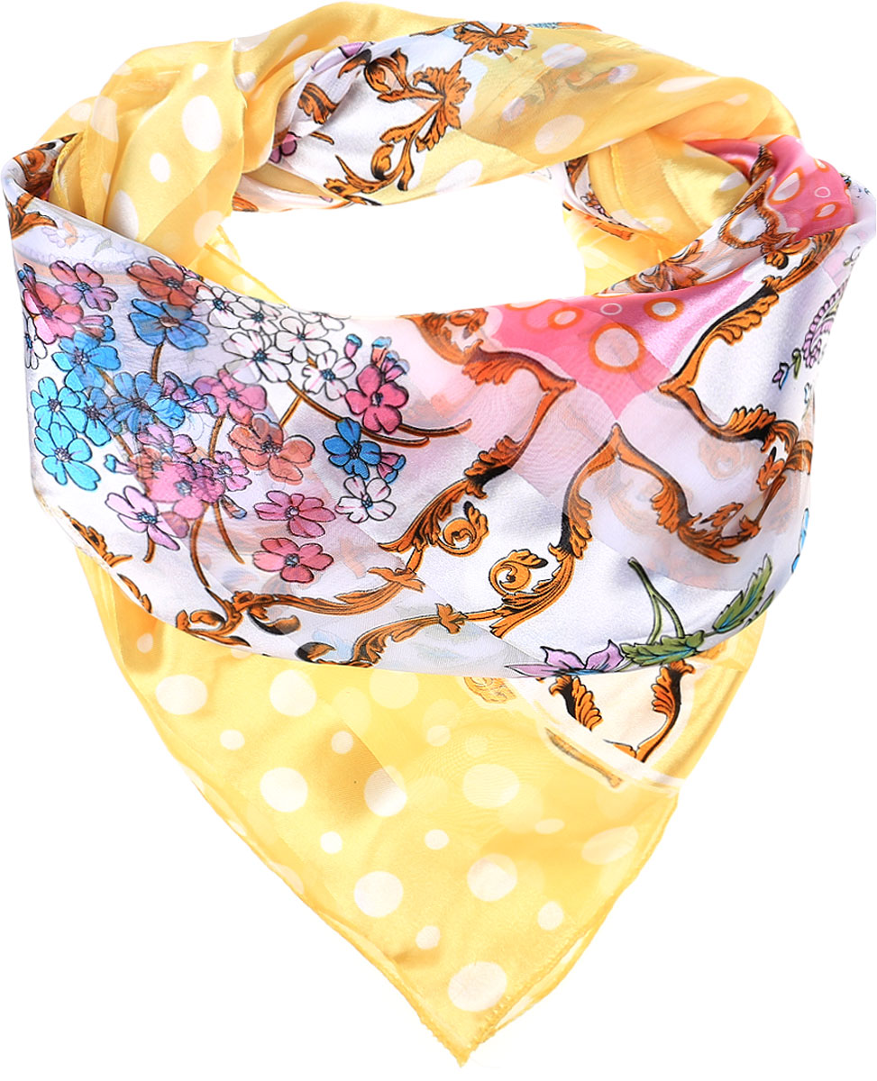 Платок женский Vittorio Richi, цвет: желтый, розовый. Ro0118-13-4. Размер 95 см х 95 смRo0118-13-4Стильный женский платок Vittorio Richi изготовлен из высококачественного полиэстера с добавлением шелка. Платок оформлен эффектом деворе полоса и оригинальным цветочным принтом. Отделка краев - оверлок.