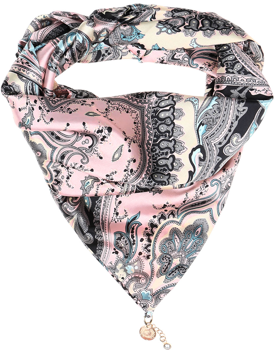 Шарф женский Vittorio Richi, цвет: розовый, серый, бежевый. Ro02S279/5307. Размер 75 см х 155 смRo02S279/5307Элегантный женский шарфик Vittorio Richi изготовлен из полиэстера и шелка. Шарфик треугольной формы оформлен оригинальным принтом. По краям изделие дополнено металлическими декоративными утяжелителями со стразами.